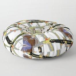 #2 PURPLE-WHITE MOTHS  ON BLACKTHORN LATTICE BRANCHES ART Floor Pillow