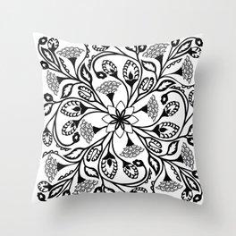 Intricate Floral Design Throw Pillow