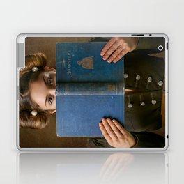 Girl Smiling Behind a Book Laptop & iPad Skin