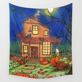 A Halloween House with Pumpkin Patch, a black cat and a little ghost Wall Tapestry