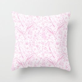 Mermaid Toile - Baby Pink Throw Pillow