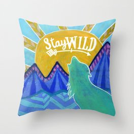 Stay Wild Wolf Sunset Throw Pillow