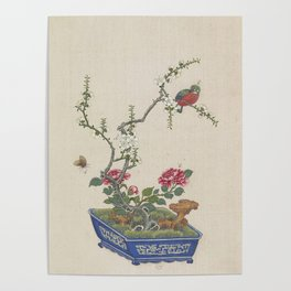 Vintage Chinese Bonsai Botanical Ink and Brush Painting-Flowers and Birds Poster