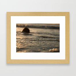 Incoming tide and Coconut at Sunset Framed Art Print