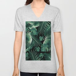 Tropical Jungle Leaves Dream #6 #tropical #decor #art #society6 Unisex V-Neck