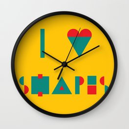 I heart Shapes Wall Clock