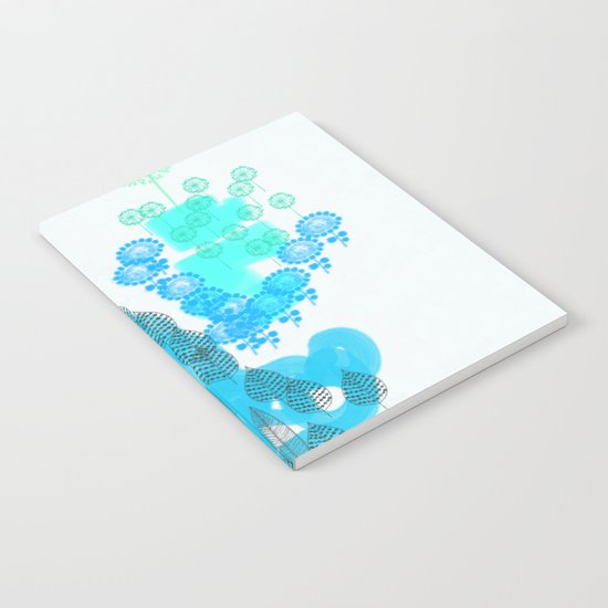Flowers and Leaves Abstract - Blue Notebook