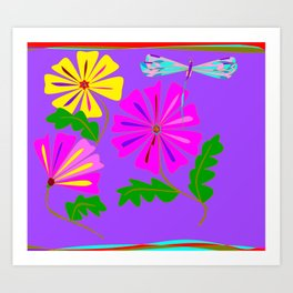 A Spring Floral Design with a Dragonfly Art Print