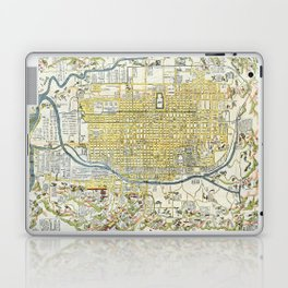 Japanese woodblock map of Kyoto, Japan, 1696 Laptop & iPad Skin