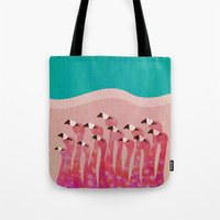 flamingos Tote Bags featuring Flamingos by Claudia Voglhuber