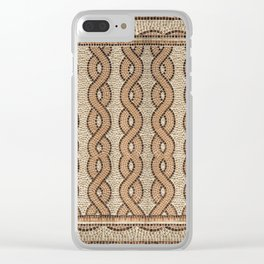 Braided Mosaic Earthtones with Border Clear iPhone Case