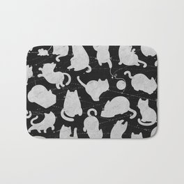 Silver Cats on Black Kitty Pattern Bath Mat