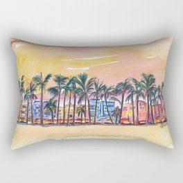 Miami Florida Ocean Drive Lights with Vanilla Sky Rectangular Pillow