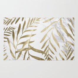 Gold and Marble Leaves Rug