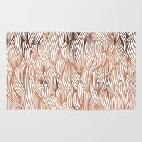 rose gold Area & Throw Rugs featuring Rose Gold Waves by Cat Coquillette