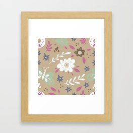 Flowers and butterflies In Brown Pattern Framed Art Print