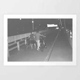 Cyclist On Bridge Art Print