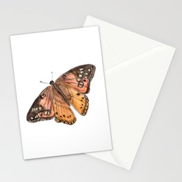 Orange Butterfly Art, Watercolor Butterfly, Nature Painting, Pink Butterfly Stationery Cards