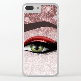 Glam diamond lashes eye #2 Clear iPhone Case