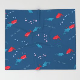 Blue Dolphin and Red Shark Throw Blanket