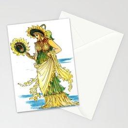 Vintage Sunflower Lady Goddess Stationery Cards