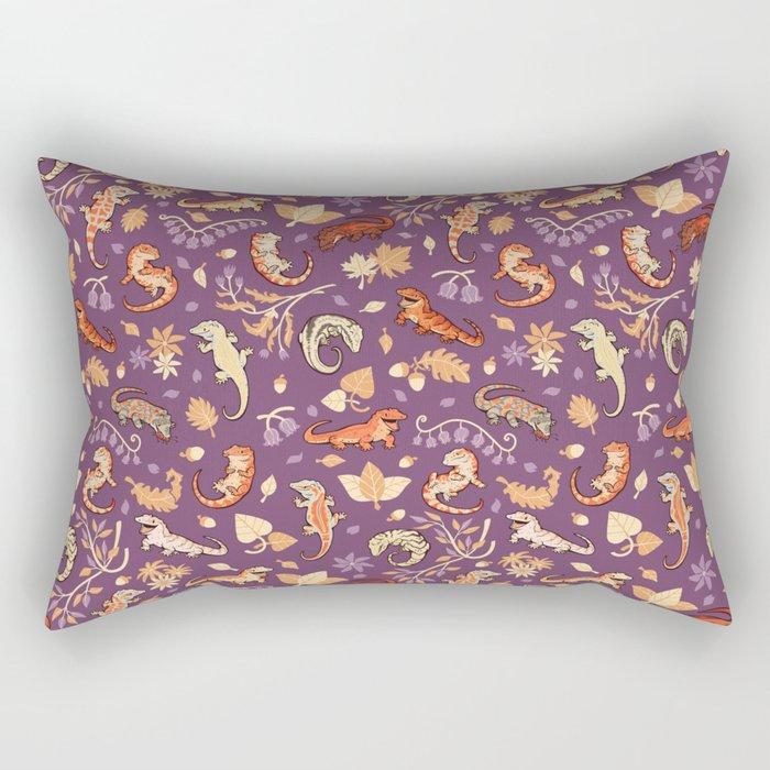 Autumn Geckos in purple Rectangular Pillow