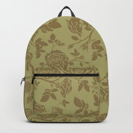 Rose tan and brown repeating pattern Backpack