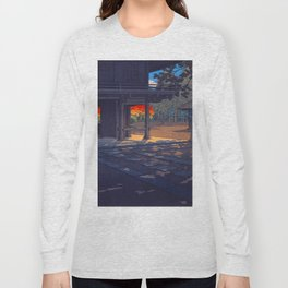 Vintage Japanese Woodblock Print Colorful Fall Trees Shinto Shrine Japanese Architecture Long Sleeve T-shirt
