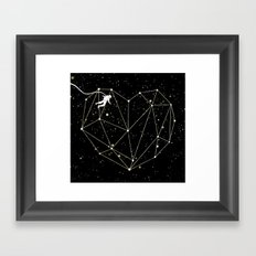 Astronaut Found Love in Space Framed Art Print