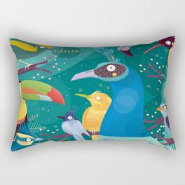 Colorful Birds in the Jungle Rectangular Pillow
