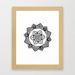 Sirasana black mandala on white Framed Art Print