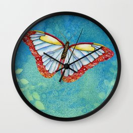 Stained Glass Butterfly Wall Clock