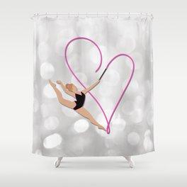 Pink Heart Gymnast Shower Curtain