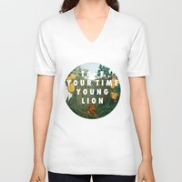 vampire weekend V-neck T-shirts featuring Weekend of the Lion by Modern Vampires of Art History