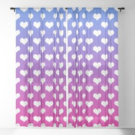 Vibrant Blue, Purple & Pink Gradient With White Hearts Sheer Curtain