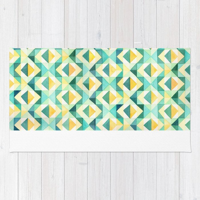 Quilted Diamond Geometric Watercolor Pattern Rug By Beccacahan New Diamond Pattern Rug