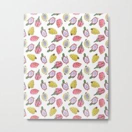 Dragon Fruit  Summer Watercolor Metal Print