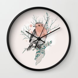 Robin on Birch Wall Clock