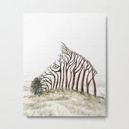 Zebra Tree Illusion Metal Print