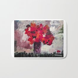 Red, Red Abstract Flowers Contemporary Bath Mat