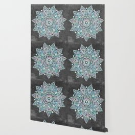 Mermaid Mandala on Deep Gray Wallpaper
