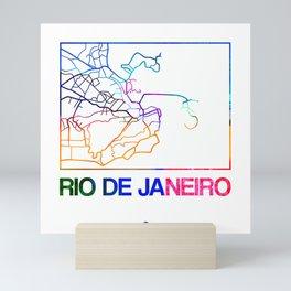Rio De Janeiro Watercolor Street Map Mini Art Print