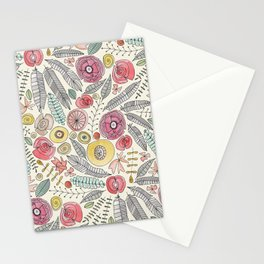 feather fleur watercolor Stationery Cards