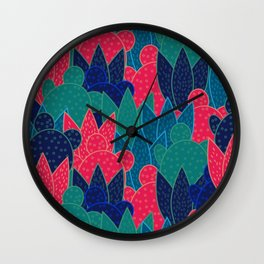 Cactus field at night Wall Clock