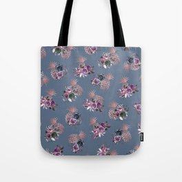 Purple Pink Gray Blue Rose Gold Floral Pineapples Tote Bag