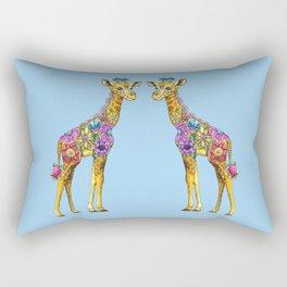 Geraldine the Geniunely Nice Giraffe Blue Rectangular Pillow