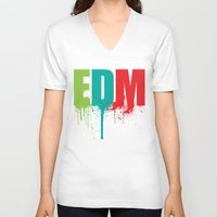 edm V-neck T-shirts featuring EDM Lover by DropBass