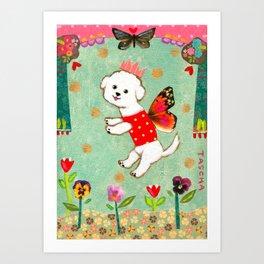 Bichon Frise Flower Fairy Dog sweet mixed media artwork by Tascha Art Print