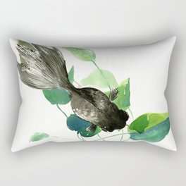 Black Moor Aquarium Fish, KOI Feng SHui Art Rectangular Pillow