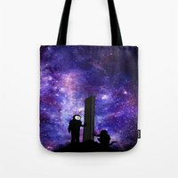 2001 a space odyssey Tote Bags featuring 2001: A Space Odyssey  by Joshua S